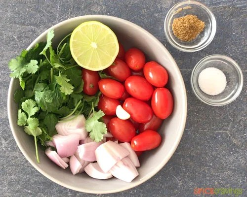Ingredients needed to make homemade salsa