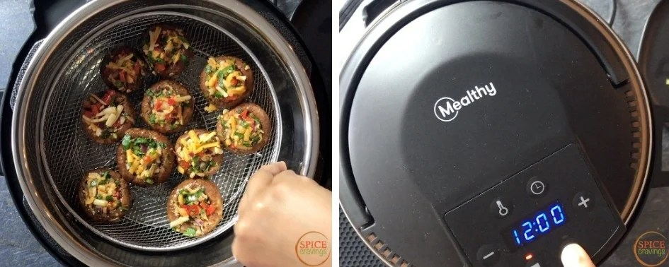 Cooing mushrooms in a pressure cooker using Mealthy Crisplid