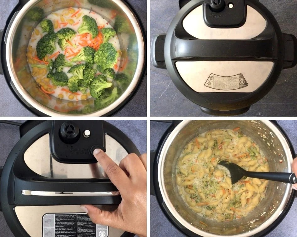Steps showing how to make Broccoli cheddar pasta in an Instant pot