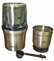 Alpina SF-2815 New Electric Stainless Steel Wet and Dry Double Bowl Coffee Grinder Also Nuts, Spices, Chutney Food Chopper / Grinder 110 Volt for USA
