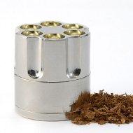Easy Grind Handy Revolver Bullet Cylinder Design Metal Spice Herb Mini Grinder Pollen w Gift Box