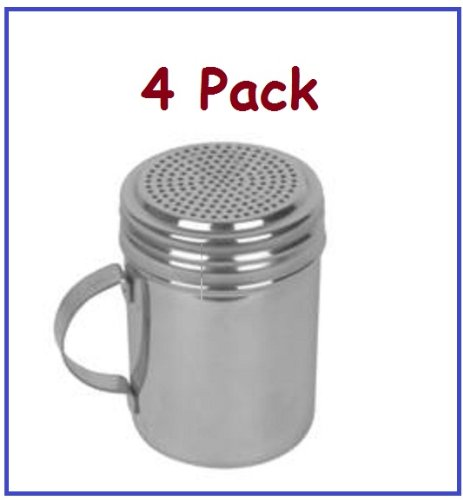 (4) Stainless Steel Dredges, Salt, Pepper, Spices, Confectionery Sugar, Etc. With Handle-4″ High
