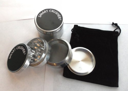 SMART CRUSHER® 2.25″ SILVER 4PCS ALUMINUM Magnetic Herb Pollen Spice Grinder with free GRINDER POUCH & pollen scrapper