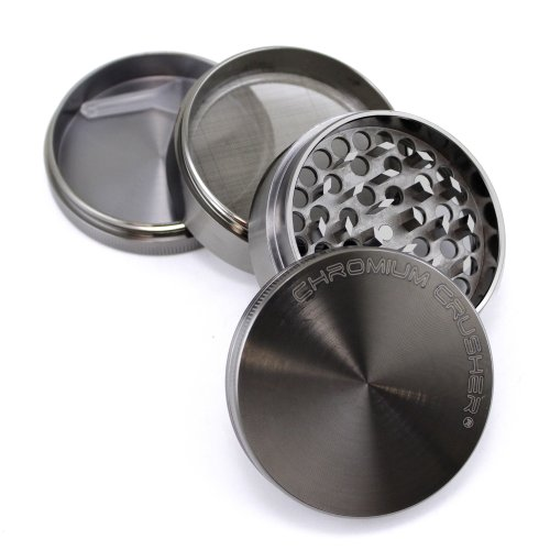 "Chromium Crusher Zinc 2.5"" 4pc Tobacco Spice Herb Grinder with Lifetime Warranty"