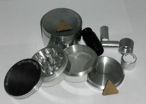 2.5″ LARGE SMART CRUSHER® 4 Part Aluminum Pollen Herb Grinder + HIGH QUALITY PREMIUM POLLEN PRESS