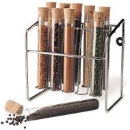 Spice Rack – Glass Spice Tube Set (Silver) (7″h x 7″w x 4.25″d)