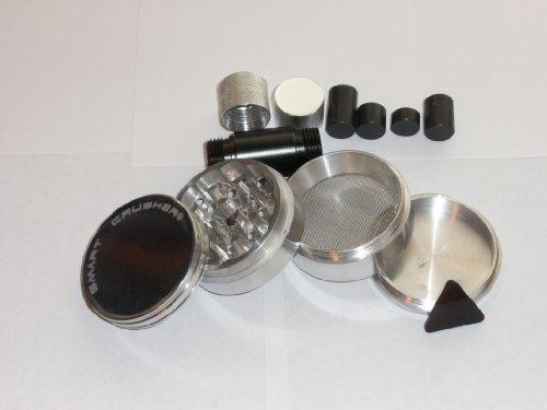 NEW Design 2.25″ Smart Crusher Spice Herb Grinder 4 Piece + 7 Pcs Premium Cnc Pollen Press