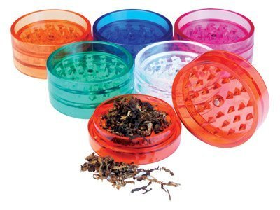 Two Piece NEW Plastic Grinder Herb, Spice or Tobacco Pollen Grinder Ships Assorted Colors