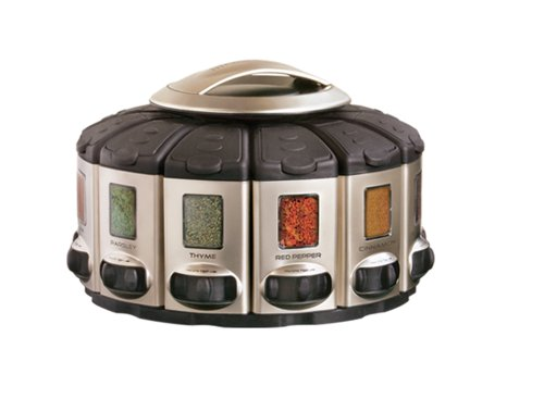 KitchenArt Pro Auto-Measure Spice Carousel, Stainless Steel Satin