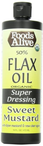 Foods Alive Sweet Mustard 50% Golden Flax Oil Dressing, 16-Ounce