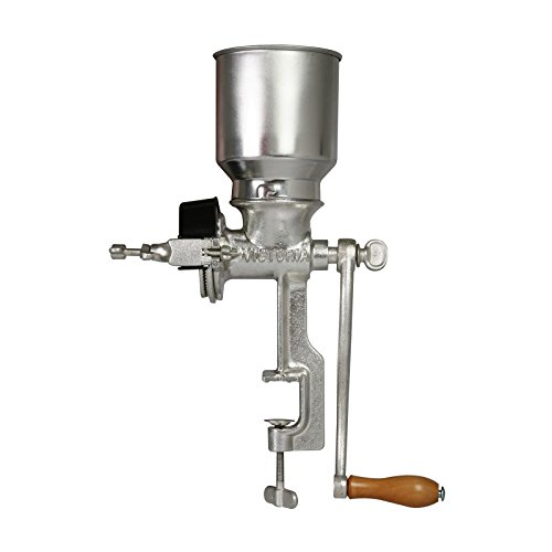 Victoria Commercial Grade Manual Grain Grinder with High Hopper – Clamp Hand Corn Mill, Cast Iron