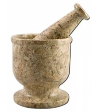 Gorgeous Fossil Marble Mortar & Pestle Set *Notice the original oceanic fossils in the stone*