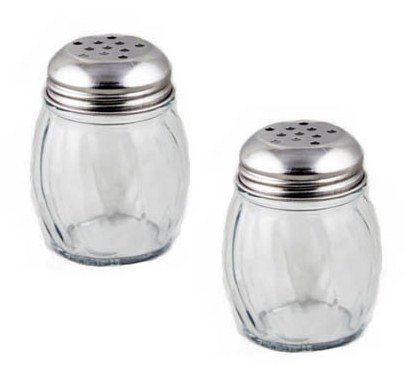 NEW, 6 oz. (Ounce) Swirl Glass Cheese Shaker, Pepper Spice Shaker w/ Perforated Stainless Steel Lid – Set of 2