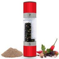 Salt & Pepper Grinder, PomStream 2 in 1 Dual Salt & Pepper Grinder (Red)