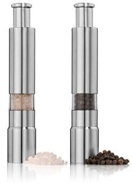 Salt and Pepper Grinder Set. Adjustable Stainless Steel Salt and Pepper Mills Sleek Design Works Great With Peppercorns, Sea Salt, Himalayan Salt, Spices & Table Seasoning. Mini set of 2.
