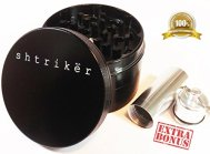 "Shtriker® Large 2.5"" 4 Piece, Including Herbal Pollen Box (black). Tobacco Grinder / Spice Grinder / Herb Grinder / Weed Grinder."
