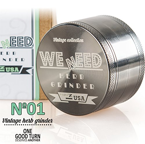 WEnEED Professional 2.5 Inch 4 piece Herb Grinder with Pollen Catcher The Best Herb Crusher for Tobacco Spices and Weed