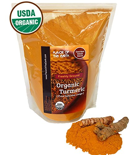 Flavor Of The Earth Organic Turmeric (Curcumin) Powder 1lb – Ultra Pure Freshly Ground and Immediately Packed in our Re-sealable Flavor Pouch