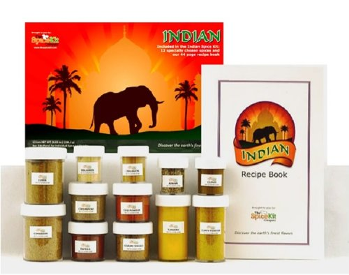Indian Spice Kit- 12 Fresh Indian Spices & 44 Page Recipe Book to Easily Cook Delicious, Authentic Indian Food at Home.
