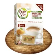 Pure Via All Natural Stevia and Turbinado Raw Cane Sugar Blend Packets (Pack of 2)