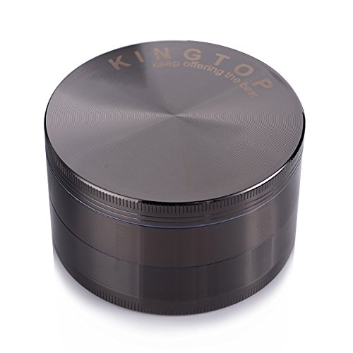 Herb Grinder Kingtop No.1 Largest 3.0 Inch 4 Piece 75mm Zinc Alloy Tobacco Spice Weed Grinder Grey