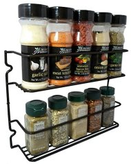 Durable Steel 2 Shelves Wall Mountable Spice Rack Organizer Holder, Stylish Black Series Color (Black)