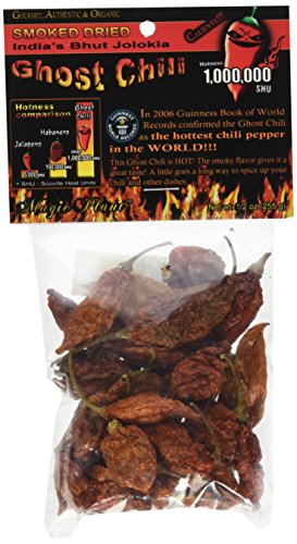 Smoked Dried Ghost Chili Pepper – Organic, Authentic Indian Bhut Jolokia – Whole Pods (1/2 oz) 100% Satisfactions Guarantee