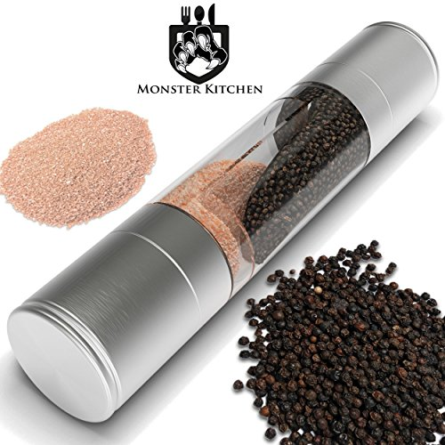 Monster Kitchen Salt and Pepper Grinder Set, 2-in-1 Salt Mill and Pepper Grinder with Stainless Steel – clear Acrylic Body and Ceramic Grinding mechanism. Enhance your kitchen experience NOW.