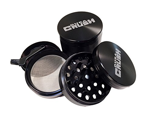 DuraCrush Herb Grinder – Large 2.5 Inch – Tobacco, Spice, Herb, Weed Grinder – Premium Quality With Pollen Catcher, 4-piece Anodized Aluminum – BONUS Two Scrapers and a Brush Inc. (2.5 Inch, Black)