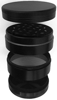 Spice Up Your Life Herb Grinder/Tobacco Grinder/Spice Grinder – Four Piece Grinder with Pollen Catcher – Premium Grade Aluminium 2 Inches Wide (Black)
