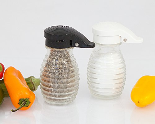 Moisture Proof Salt & Pepper Shakers, Black & White Lids Spring Loaded, No Clog, 2 Oz, Set of 2 By Tumbler Home
