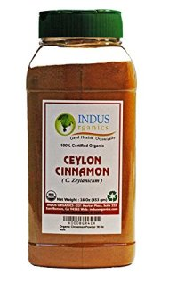 Indus Organic Ceylon Cinnamon Powder, 1 Lb Jar, Premium Grade, Freshly Packed in New Ergonomic Design
