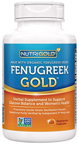 Organic Fenugreek GOLD – 750 mg, 120 Vegetarian Capsules (GMO-free, Preservative-free, Allergen-free Organic Fenugreek Seed Powder in Veg. Capsules for Breastfeeding)