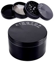 Herb Grinder Large 3.0″ Kingtop Weed Spice Tobacco Grinder 4 Piece Zinc Alloy Black