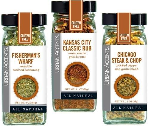 Urban Accents Seasoning All Natural Gluten Free – Fisherman's Wharf, Kansas City Classic Rub, Chicago Steak & Chop