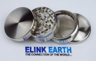 Elink EarthTM Herb Grinder Silver with Mill Handle of Four Piece NEW Style 2″