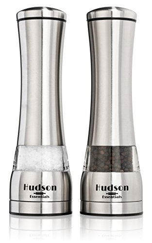 Hudson Essentials Deluxe Salt and Pepper Grinder Set – Ceramic Blade & Stainless Steel Construction – Set of 2 Manual Mills