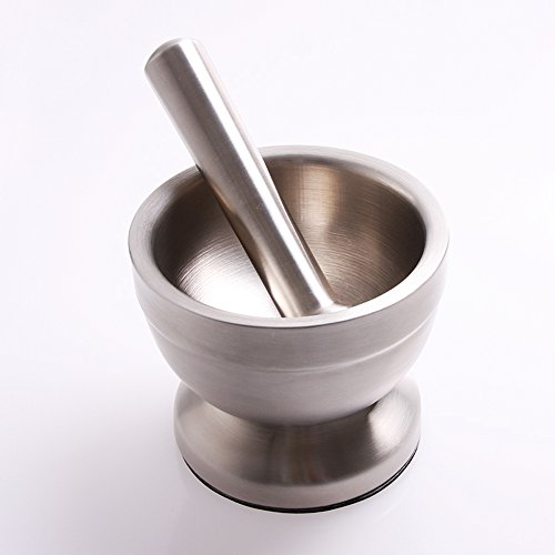 Bekith Brushed Stainless Steel Mortar and Pestle / Spice Grinder / Molcajete