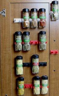 DecoBros 30 Spice Gripper Clips Strips Cabinet Holder – Set of 6, Holds for 30 Spice Jars