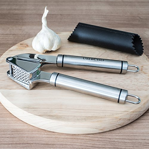 UberChef® Premium Stainless Steel Garlic Press & Peeler Set ● Mince & Crush Garlic Cloves & Ginger with Ease ● Best Mincer & Roller ● Made of Sturdy 18/10 Stainless Steel ● UC-GP101