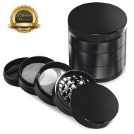 Herb Grinder 5 PCS Set, Sahara Sailor 5 Piece 2.2 Inch Zinc Alloy Spice Tobacco Weed Grinder with Pollen Catcher Heavy Duty -Black