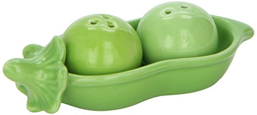 Kate Aspen Two Peas in A Pod Ceramic Salt and Pepper Shakers in Ivy Print Gift Box