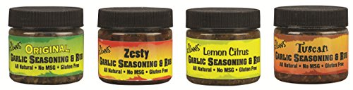 Ellbee's Garlic Seasoning and Rub Variety Pack All Natural Gluten Free No MSG – Original, Tuscan, Lemon Citrus, Zesty