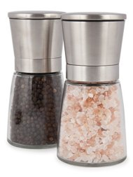 Salt and Pepper Grinder Set with Silicon Stand – Premium Pair of Salt & Peppercorn Mills with Adjustable Ceramic Coarseness – Brushed Stainless Steel and Glass Body Shakers