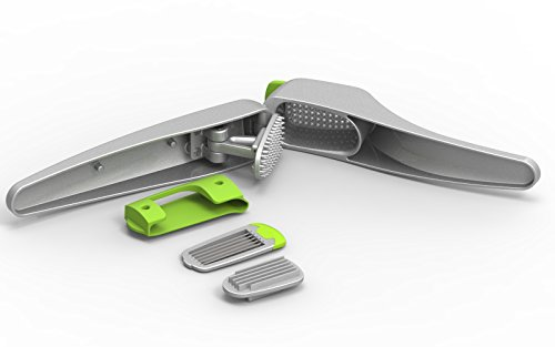 Krytonyx Garlic Press, UNIQUE 2 in 1 Design with Swap Slicer and FREE Garlic Peeler to Mince Cloves as a Garlic Chopper, Crusher, Slicer, Best Professional Stainless Aluminum Silver, Let the Juice Out