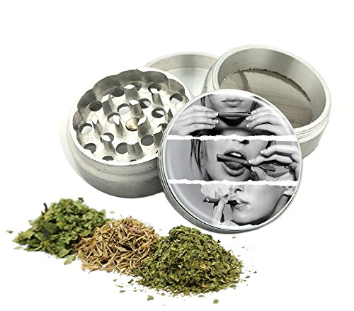 Girl Smoking Lips Design -42 mm- Tobacco And Herb Grinder 4 Parts That Has Fashion Design On And Covered With Crystal Clear Doming Item # G42-5715-281