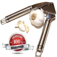 Garlic Press – Stainless Steel – Epicurean Garlic Press, Manual Garlic And Ginger Mincer Tool; Best Garlic Press Crusher For Kitchen Is Durable With Easy Clean Up – FREE Best Garlic Recipes E-Book Included