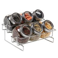 6 Jar Metal and Glass Food Spice Kitchen Storage Container Rack – MyGift