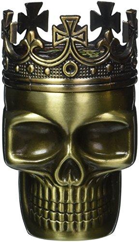 1 X Fab Detailed Crowned King Skeleton Skull Design Novelty Metal Spice Grinder Pollen Screen
