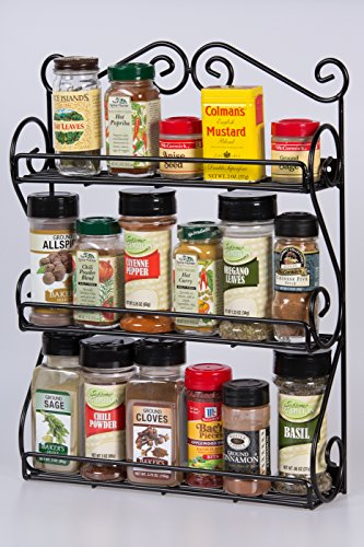 Handcrafted Deluxe Wall-Mount 3-Tier Scroll Metal Spice Rack; Black Powder-Coated Iron by Unum™